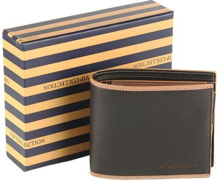 70f6987596a69 Najwyższej jakości ekskluzywny skórzany portfel męski Vip Collection -  Brązowy