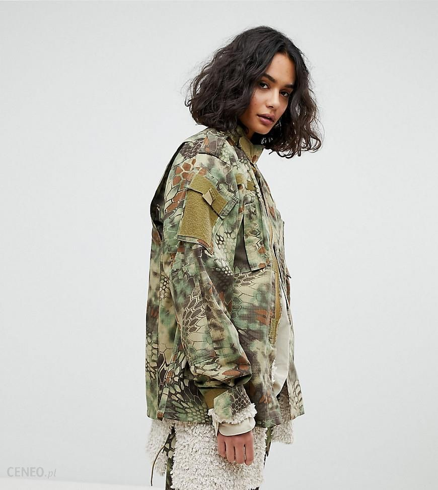 e977718c691f2 Reclaimed Vintage Revived Military Jacket In Python Camo - Green - zdjęcie 1