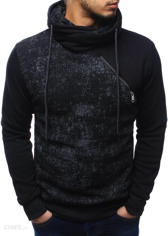 bluza czarna męska z kominem rozpinana