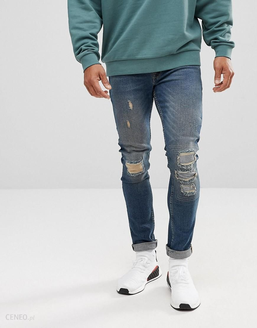 ASOS Extreme Super Skinny Jeans In Dark Wash Vintage With Rip And Repair Blue Ceneo.pl