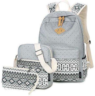 8b3d064b14a9c Amazon 5 All 3-częściowy zestaw Fashion damska Canvas duża szkolny plecak + torba  na