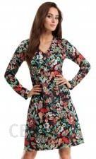 bc1f18eaef MOE257 Sukienka trapezowa - kwiatowy - Ceny i opinie - Ceneo.pl