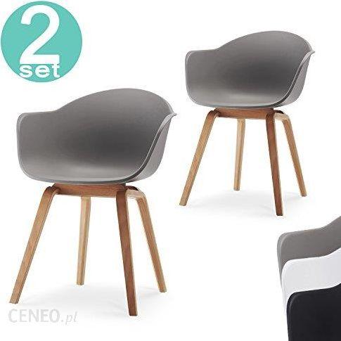 Amazon Damiware Krzesło Do Salonu Jadalni Romeo Zestaw 2 Krzeseł Białych Z Polipropylenu I Drewna Bukowego W Stylu Retro Do Biura Gabinetu Kuchni
