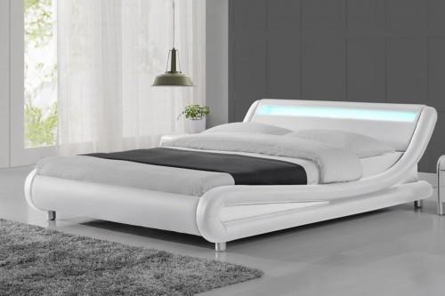 Meblemwm łóżko Tapicerowane Do Sypialni 160x200 114 Led Białe Z Materacem