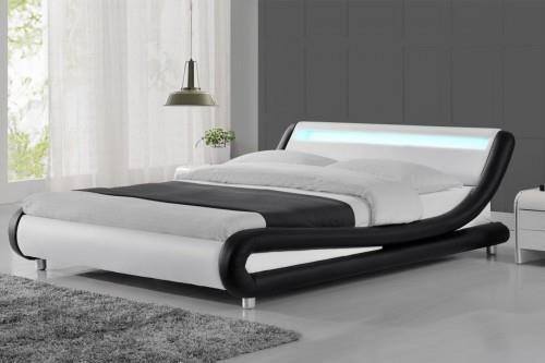 Meblemwm łóżko Tapicerowane Do Sypialni 140x200 114 Led Biało Czarne Z Materacem