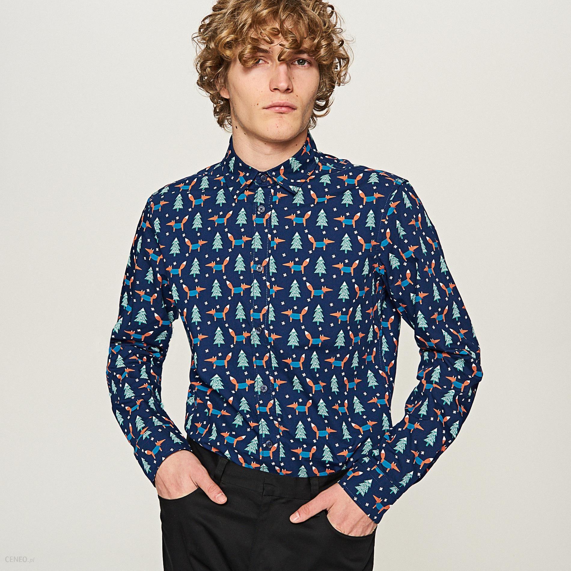 bcacdbc0fca3 Reserved - Koszula z nadrukiem świątecznym - Niebieski - Ceny i ...