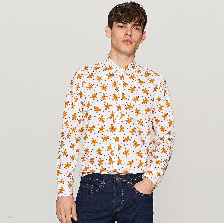 066c2e0bd2c0 Reserved - Koszula z nadrukiem świątecznym - Kremowy - Ceny i opinie ...