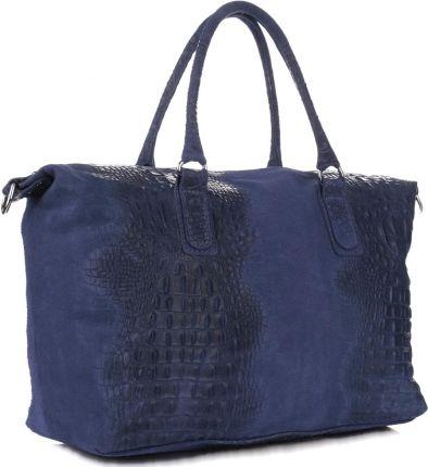 3b564da0f5b61 Włoskie Torebki Skórzane Pojemny Kufer Firmy Genuine Leather Granatowe  (kolory) ...