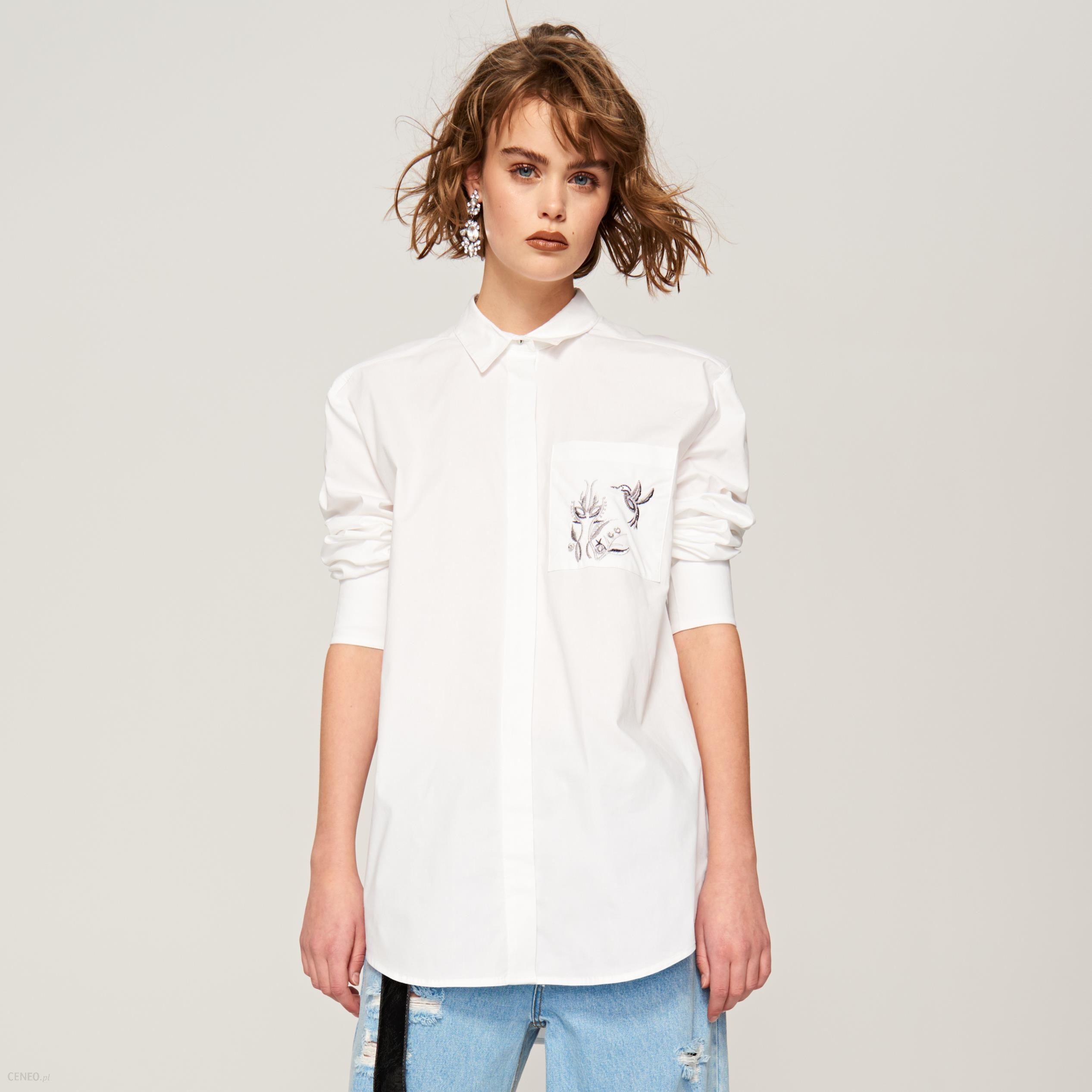 Reserved Koszula z ozdobną kieszonką Biały Ceny i  oN261
