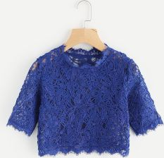 6b5ce1f551010 Hollow Out Eyelash Lace Crop Top