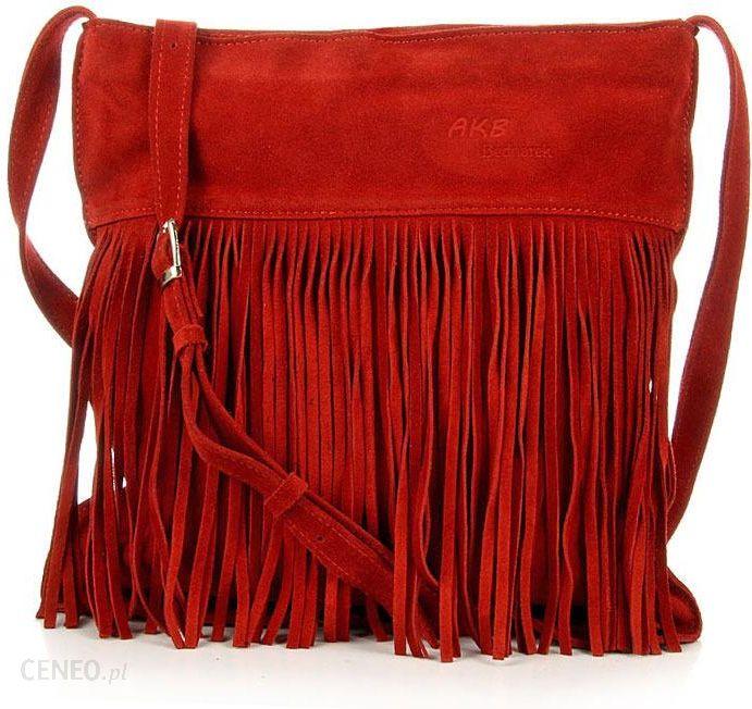 25ea42cfeaf41 Włoska torebka skórzana z frędzlami MADE IN ITALY Postino 177 czerwona -  Czerwony - zdjęcie 1