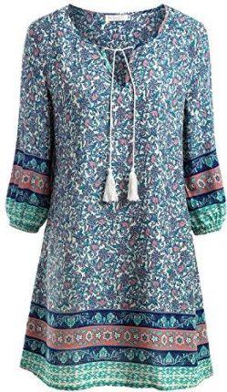 57c15259d7 Amazon baishe nggt damska sukienka tunika sukienka plażowa Mini Vintage  Bohemian sukienki