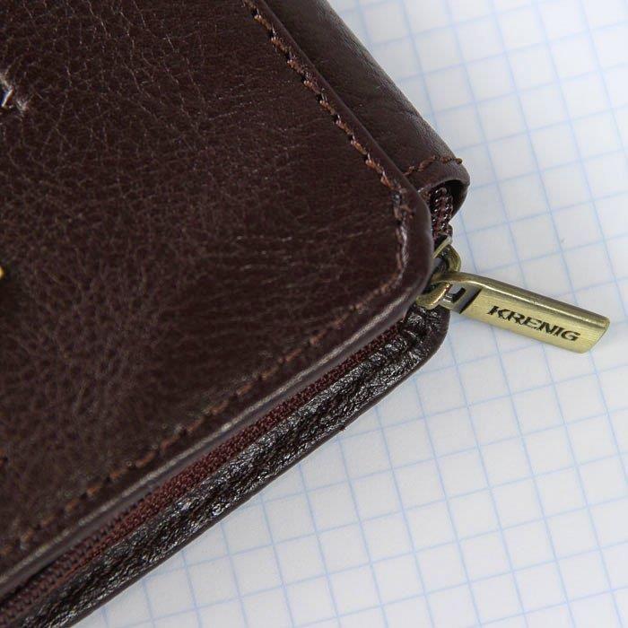 9a5b780b9d7ba ... KRENIG Classic 12033 brązowa skórzana saszetka etui na pasek - brązow -  zdjęcie 5