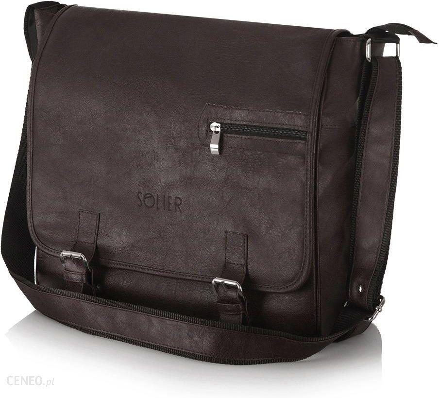 38bdcd07e1ee6 Brązowa casual torba męska na ramię Solier S12 - Dark brown mat - zdjęcie 1