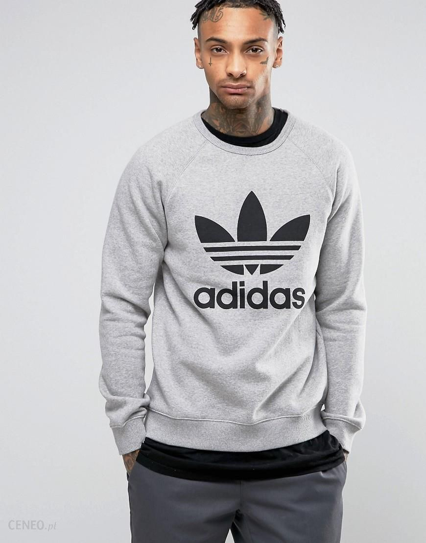 adidas Originals Crew Neck Sweatshirt With Trefoil Logo In Grey BK5866 Grey