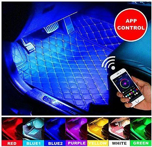 Amazon Elinkume Led Oświetlenie Wewnętrzne Samochodu 4 X Led 12 V Dc Multicolor Music Car Interior Light Kit Z Funkcją Wireless App Control Sound Akt