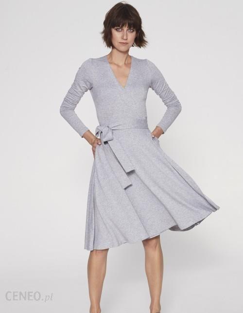708953ea37 Sukienka midi Klasyka Gatunku z długim rękawem melange - Ceny i ...