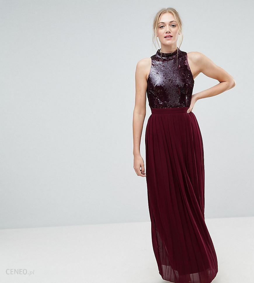 2af0a6d2 Little Mistress Tall Allover Sequin Top Maxi Dress With Pleated Skirt - Red  - zdjęcie 1