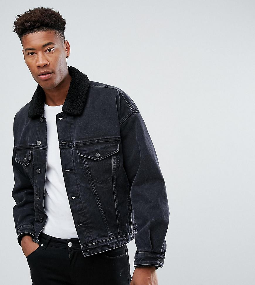 77064697448 ASOS TALL Oversized Denim Jacket with Borg Collar in Washed Black - Black