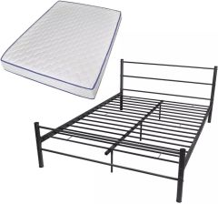 Vidaxl Podwójne łóżko Metalowe Z Materacem Memory Foam 140x200