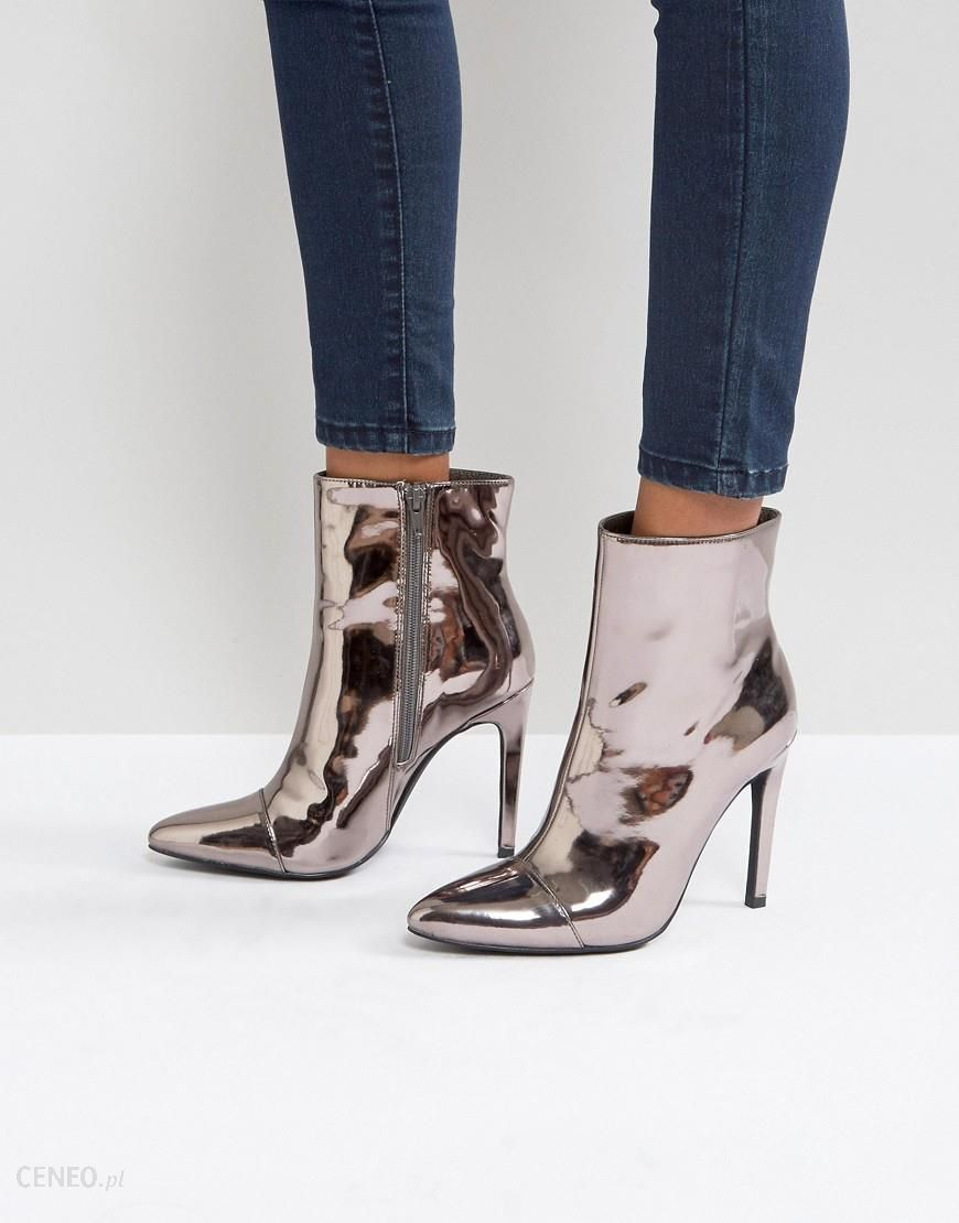 d4b2d84e9a74 London Rebel Stiletto Heel Pointed Ankle Boot with Silver Zip - Grey -  zdjęcie 1