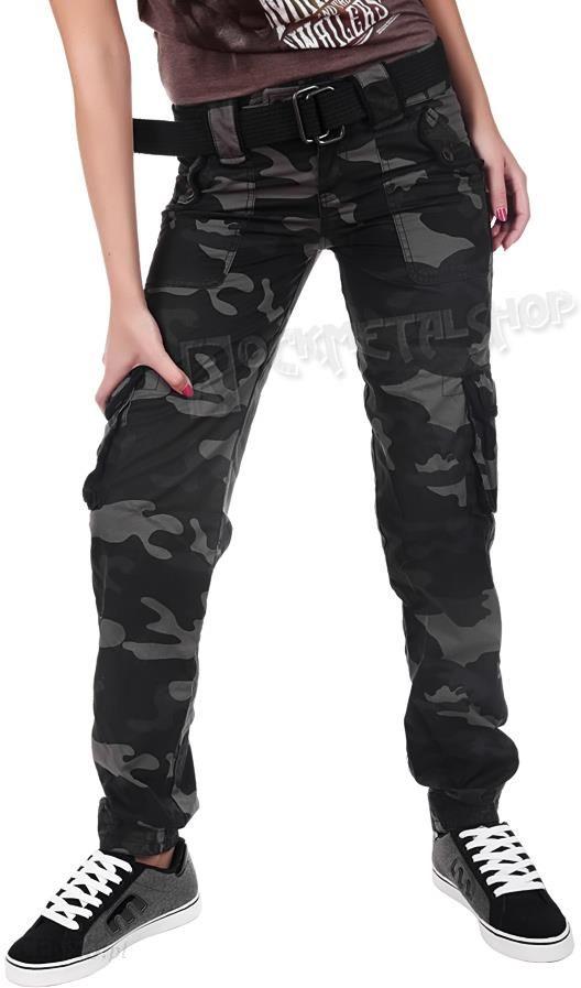 4c8be780848c09 spodnie bojówki damskie LADIES PREMIUM TROUSERS SLIMMY BLACK CAMO - zdjęcie  1