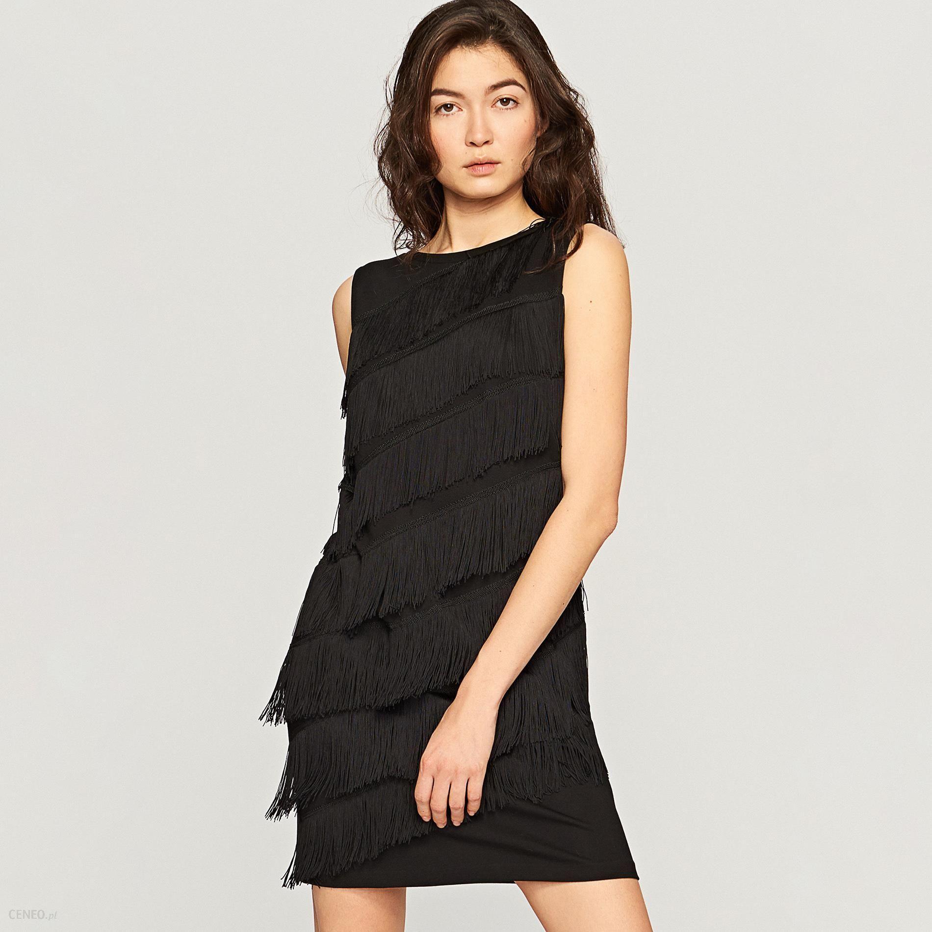 73b87bea18 Popularne obiekty Reserved - Sukienka z frędzlami - Czarny - Ceny i opinie  - Ceneo.