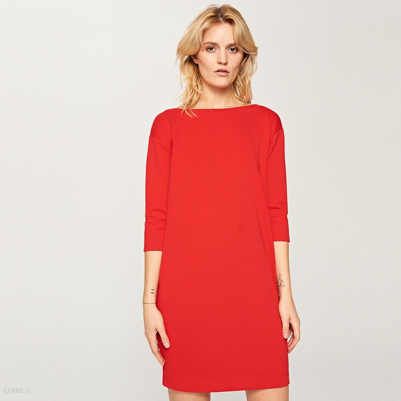 eab1759cb6 Reserved - Pudełkowa sukienka z tasiemką na karku - Czerwony - zdjęcie 1