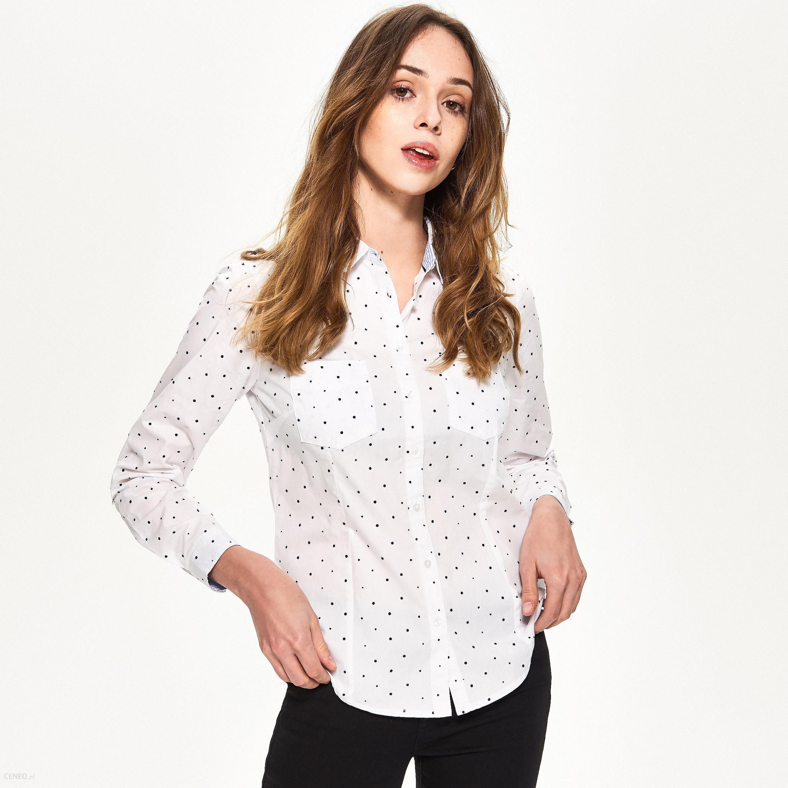 947f47895091bb Sinsay - Prążkowana koszula z nadrukiem gwiazdek - Biały - Ceny i ...