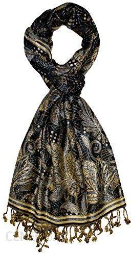 00bc31a1276a09 Amazon Lorenzo Cana markowe włókno szalik męski naturalny wzór kwiecisty  kwiaty czarno-szara niebieska złota