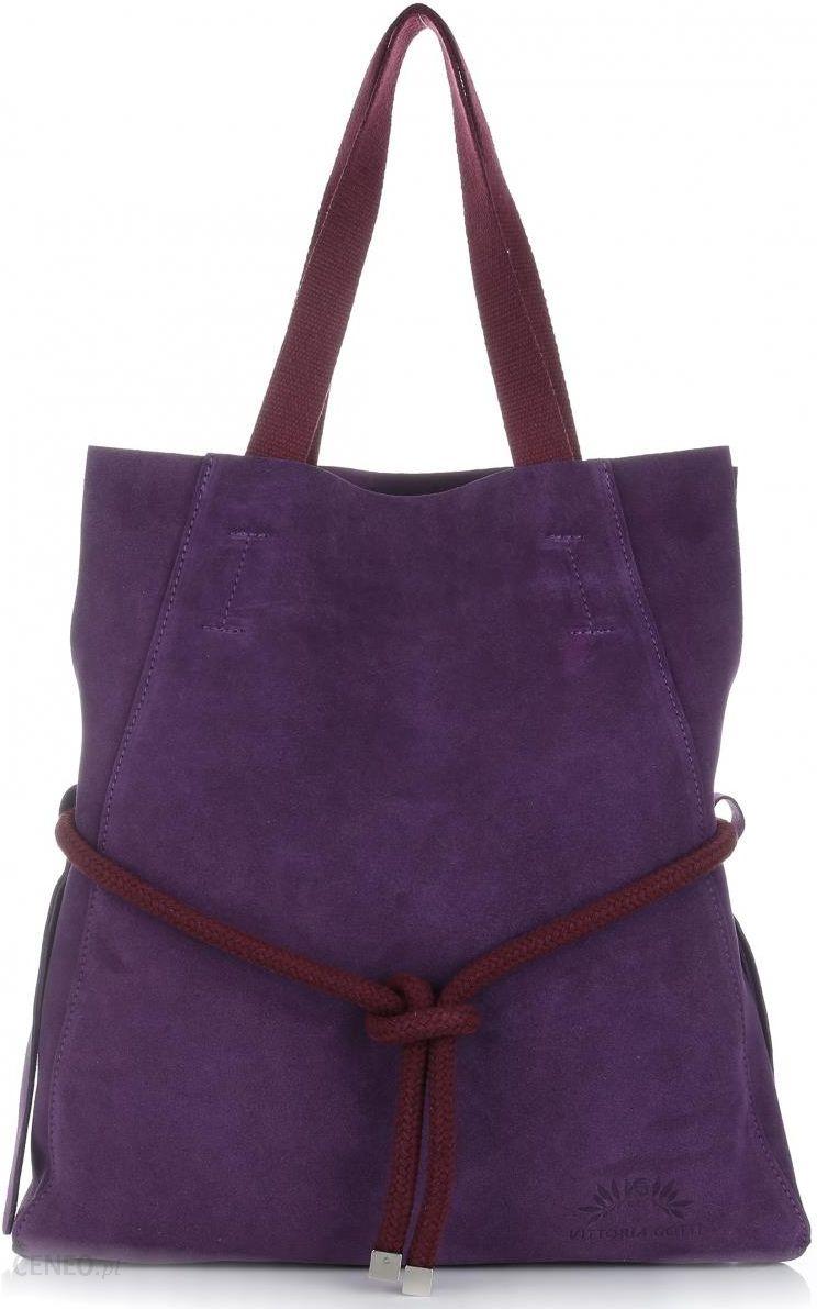 701261567f6ac Vittoria Gotti Duże Torebki Skórzane typu ShoppeBag XL z Kosmetyczką  Fioletowy (kolory) - zdjęcie