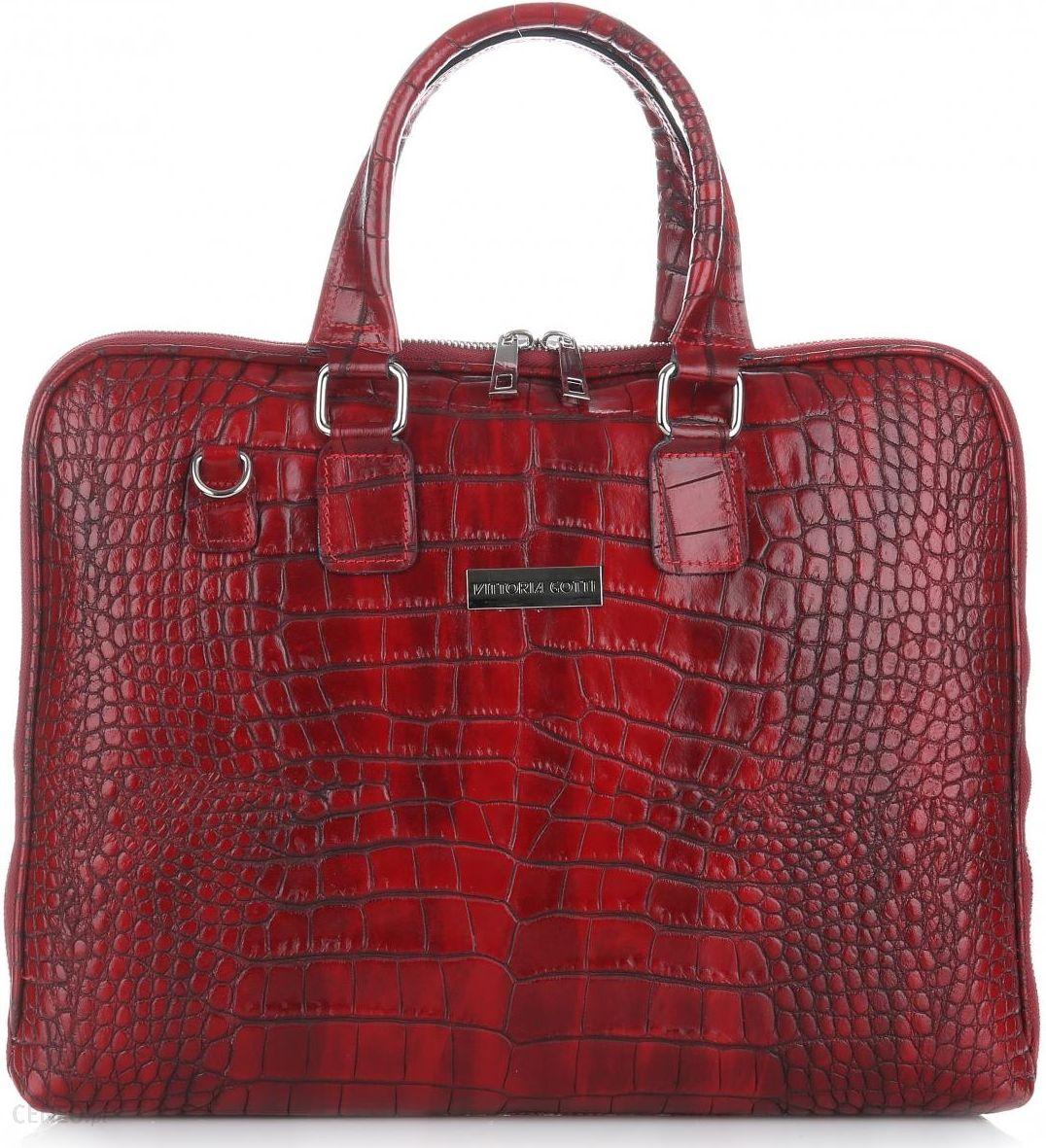 93934f7db1da Eleganckie Torebki Skórzane Aktówki Firmy Vittoria Gotti Czerwone (kolory)  - zdjęcie 1