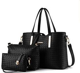 57fdd1a0be Women Bags PU Bag Set 3 Pcs Purse Set Zipper for Casual All Season Blue  Black