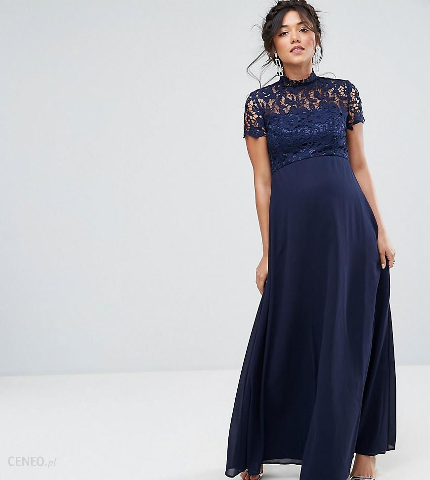 73246b71 Chi Chi London Maternity 2 in 1 High Neck Maxi Dress with Crochet Lace -  Navy