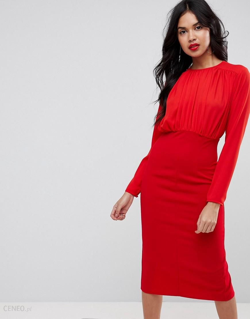 b9977b4a278f ASOS Woven Mixed Midi Pencil Dress with Pleated Top - Red - zdjęcie 1