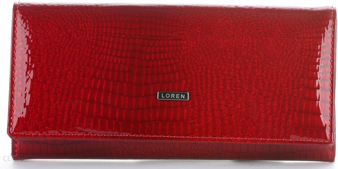 b72c88b98f265 Duży Portfel Damski Skórzany firmy Loren Lakierowany Czerwony - zdjęcie 1