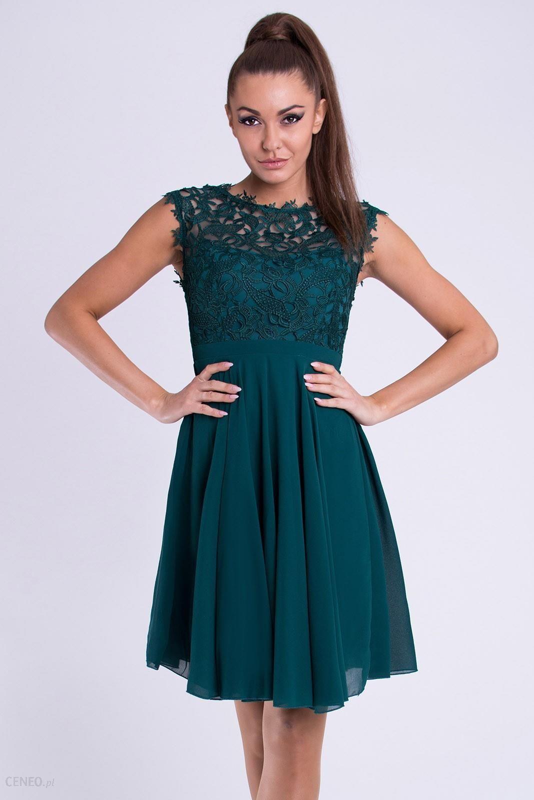 23d73eacd6 Rozkloszowana sukienka z koronką - butelkowa zieleń