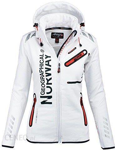 092ab1bf8693f7 Amazon Geographical Norway funkcjonalne Outdoor damska softshell kurtka  przeciwdeszczowa Sport, kolor: biały , rozmiar