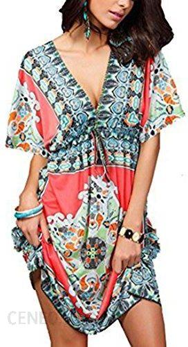 89d106ab4a Amazon Jastore® Floral narzuta na głębokim dekoltem w szpic Boho damskie  ponczo plaża sukienka letnia