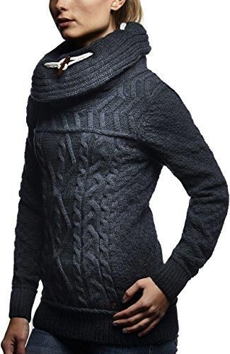 Amazon leif Nelson damski sweter sweter Hoodie do robienia na drutach kurtka z długim rękawem bluza sweter kołnierzem szalowym do robienia na drutach