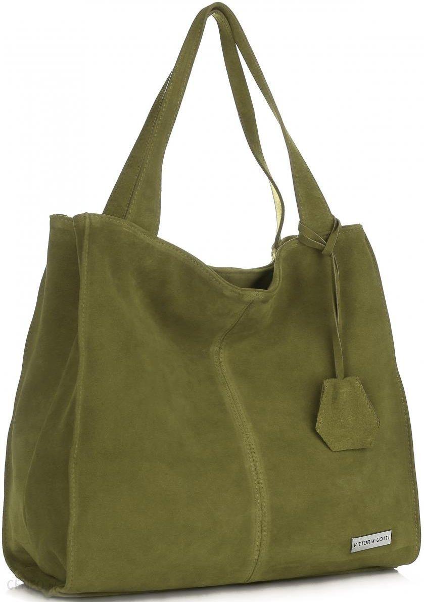 fadfb5d31efff Vittoria Gotti Uniwersalne Torebki Skórzane Na co dzień ShopperBag XL  Zielona (kolory) - zdjęcie