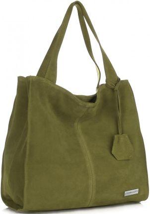 8dcf874c970f1 Vittoria Gotti Uniwersalne Torebki Skórzane Na co dzień ShopperBag XL  Zielona (kolory) ...