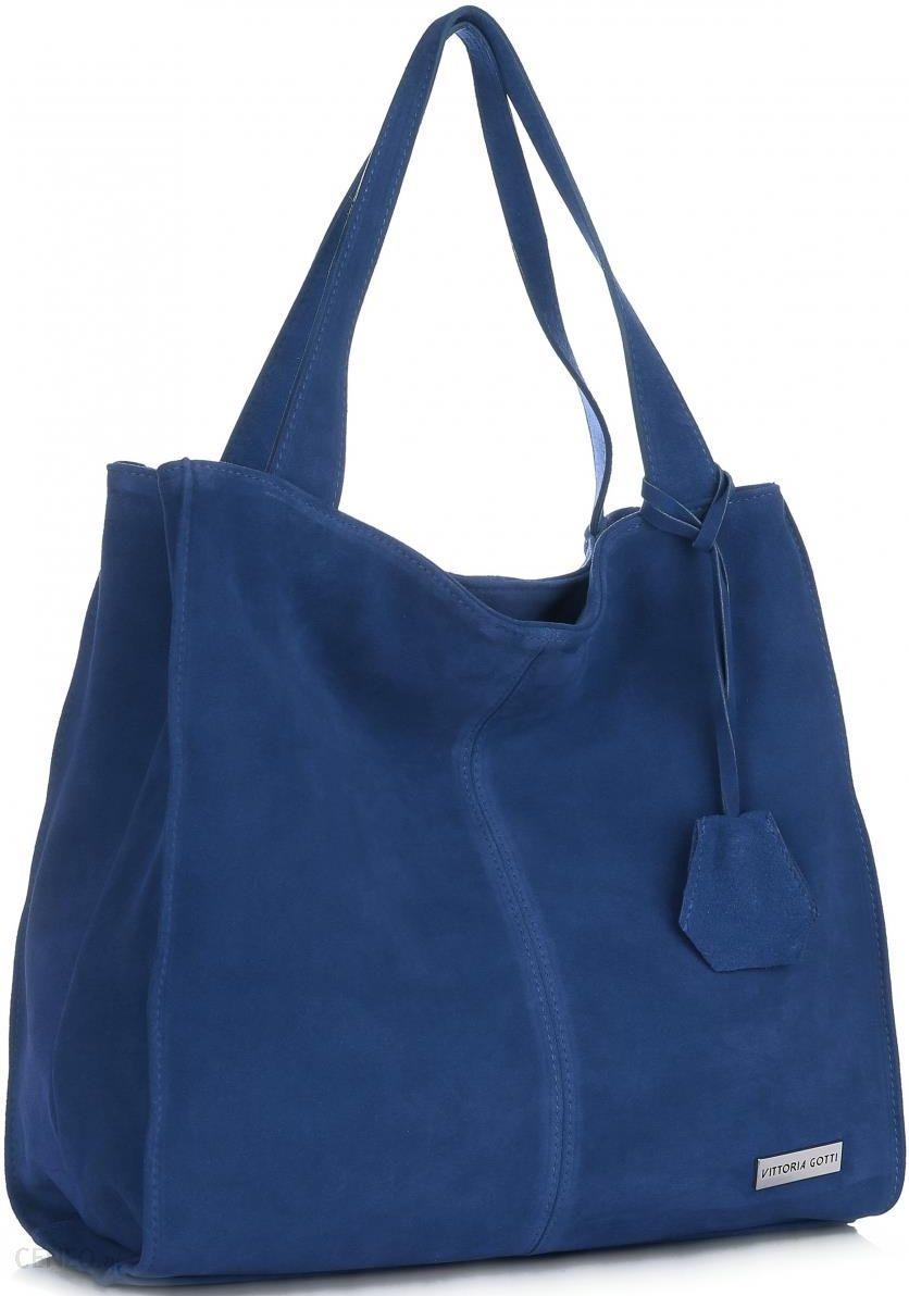 115e628d498cf Vittoria Gotti Uniwersalne Torebki Skórzane Na co dzień ShopperBag XL  Niebieska - Jeans (kolory)