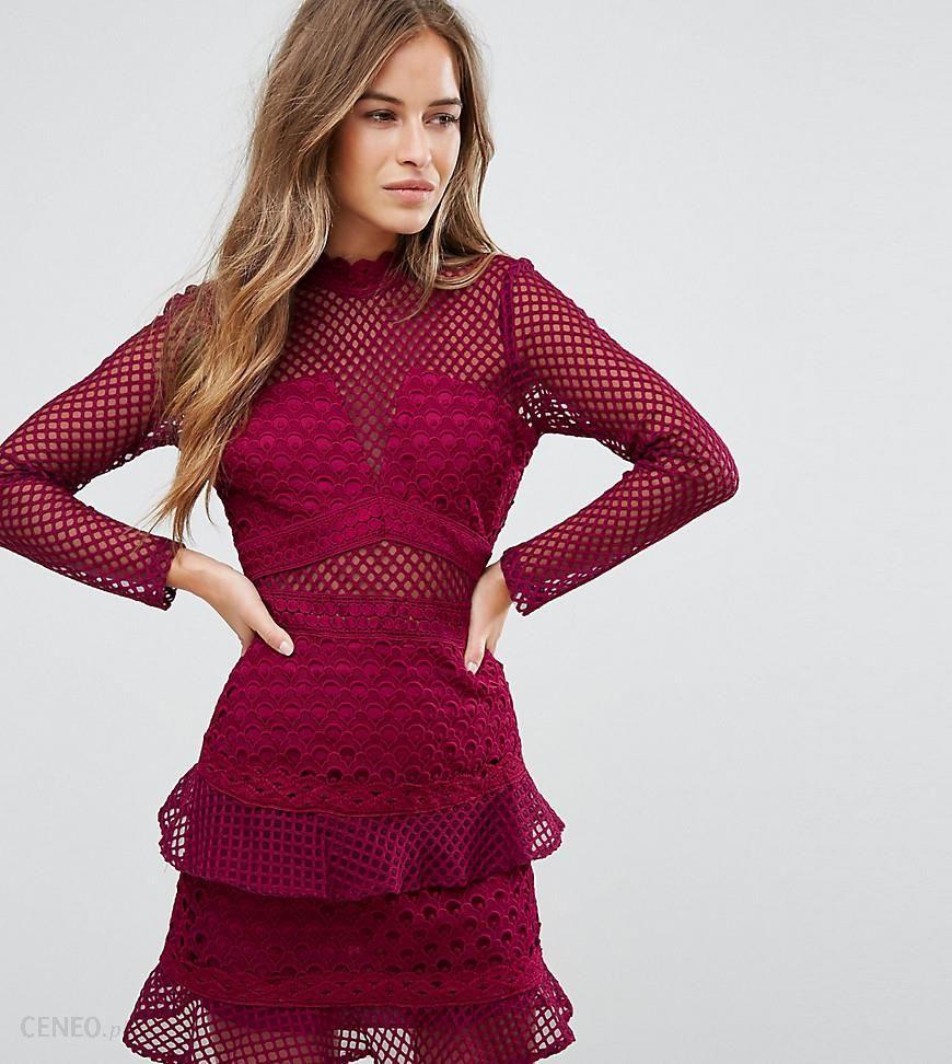 4717b80b8 True Decadence Petite All Over Mesh Skater Dress With Ruffle Hem - Red -  zdjęcie 1