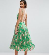 56b89ff6a3c ASOS PETITE SALON Floral Embroidered Backless Pinny Midi Prom Dress - Green