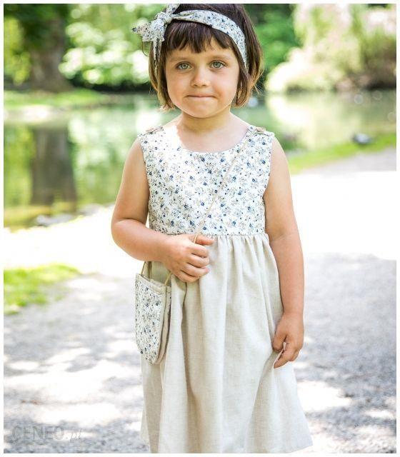 c23a22adc1 Sukienka Lniana dla dziewczynki Projekt ASz 18-36 m ( 86-98 cm ...