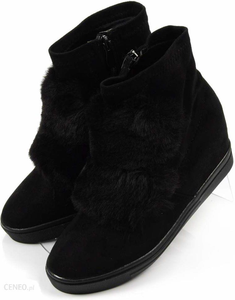 Pantofelek24.pl , Czarne trampki sneakersy na średnim koturnie