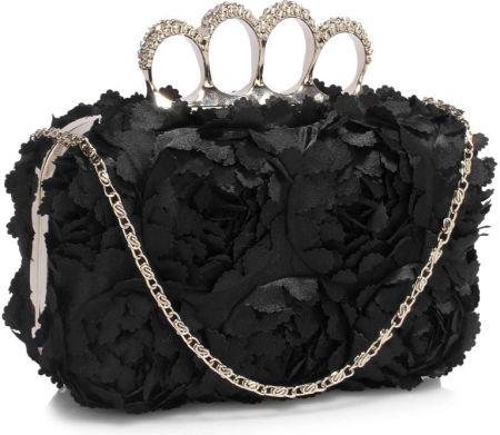 Listonoszka w kwiaty torebka damska przewieszka – czarny
