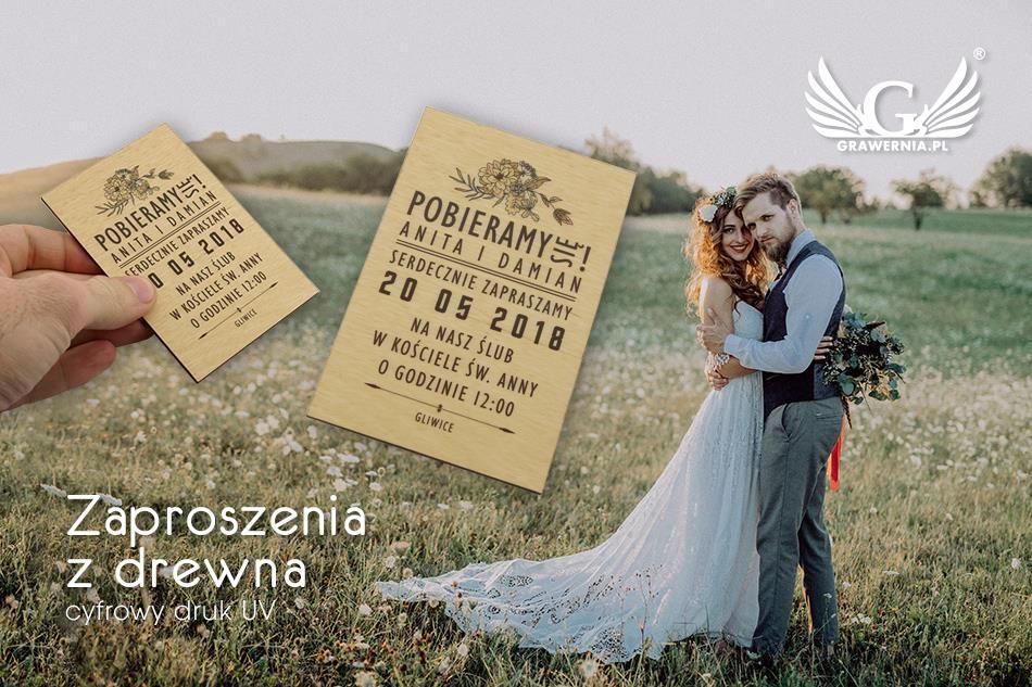 Zaproszenia ślubne Z Drewna Cyfrowy Druk Uv Zap004 Ceny I Opinie
