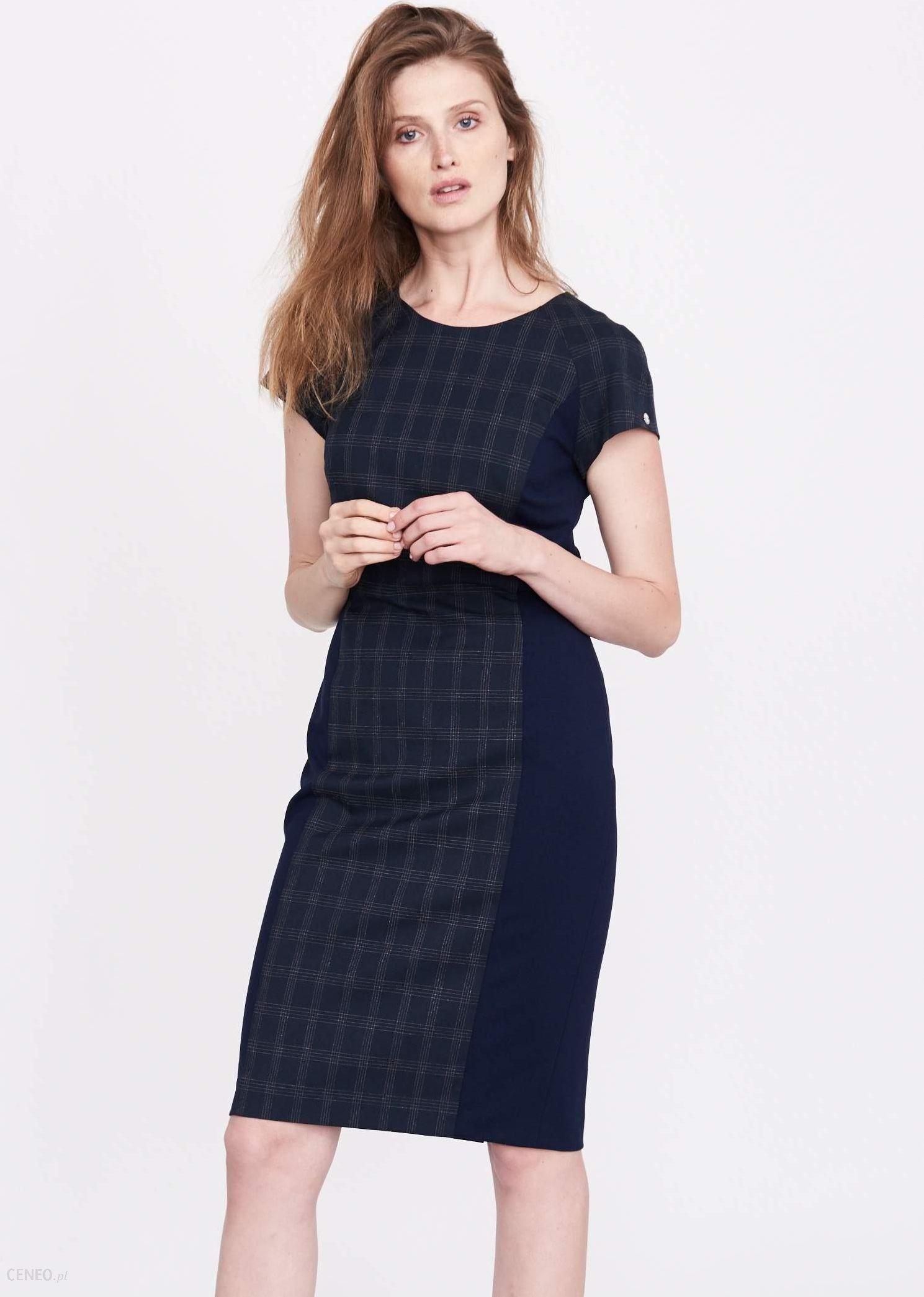 2403c4f22d Simple Sukienka 17717 J.szara navy Blue Krata 44 - Ceny i opinie ...